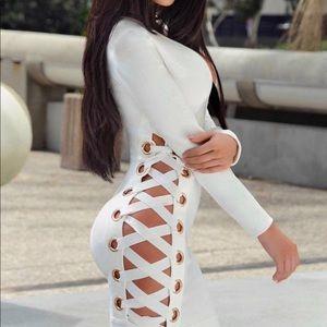 White lace up side bandage dress